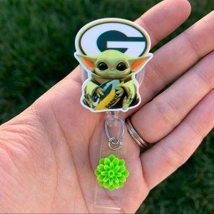 Baby Yoda Green Bay Packers Badge Holder